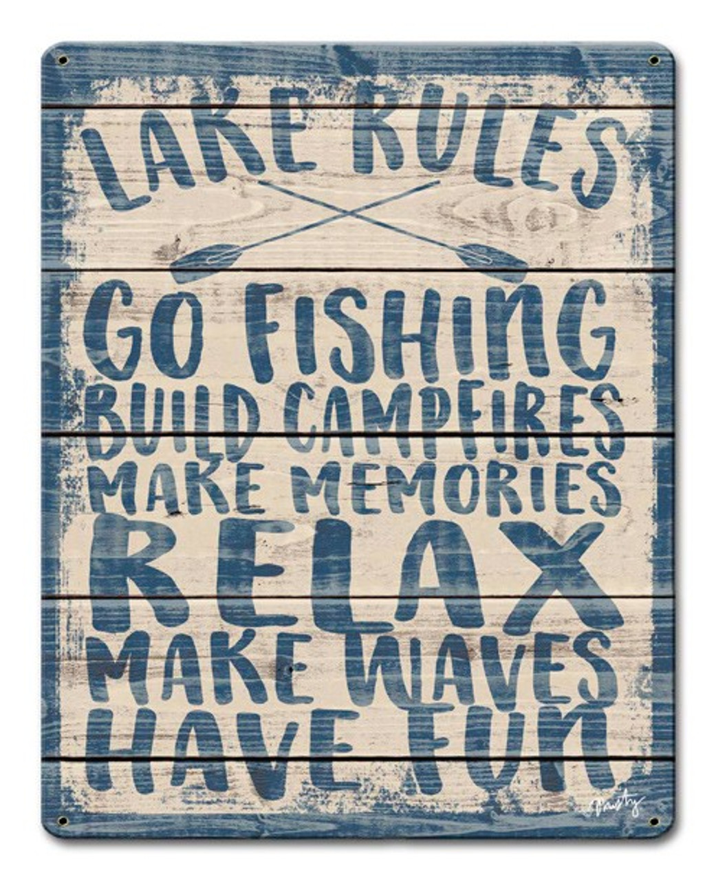 Lake Rules Metal Sign 12 x 15 Inches