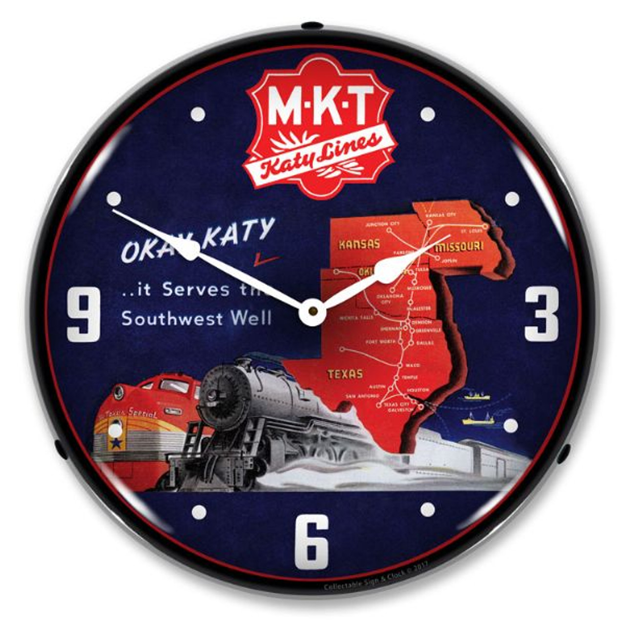 MKT Katy Lines  Lighted Wall Clock 14 x 14 Inches