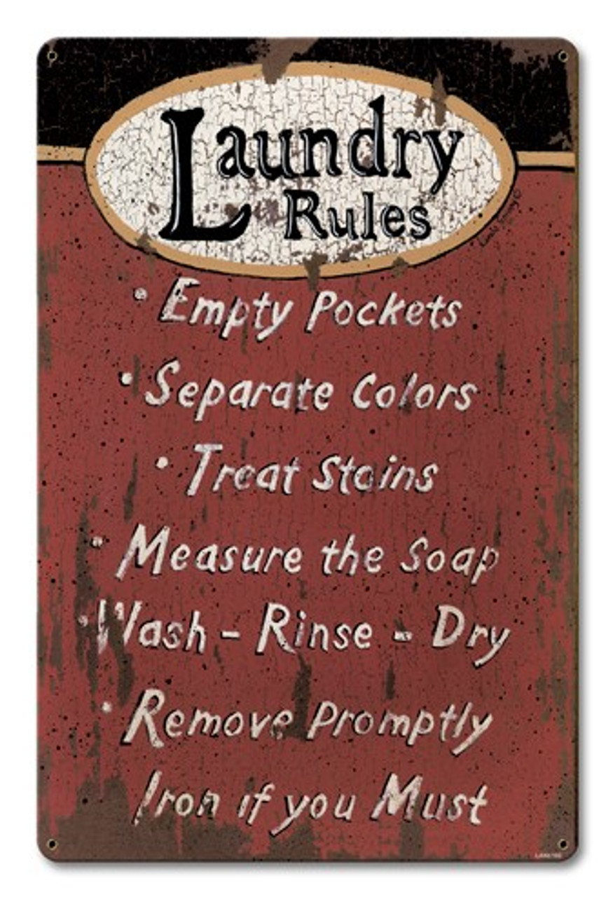 Laundry Rules Metal Sign 12 x 18 Inches