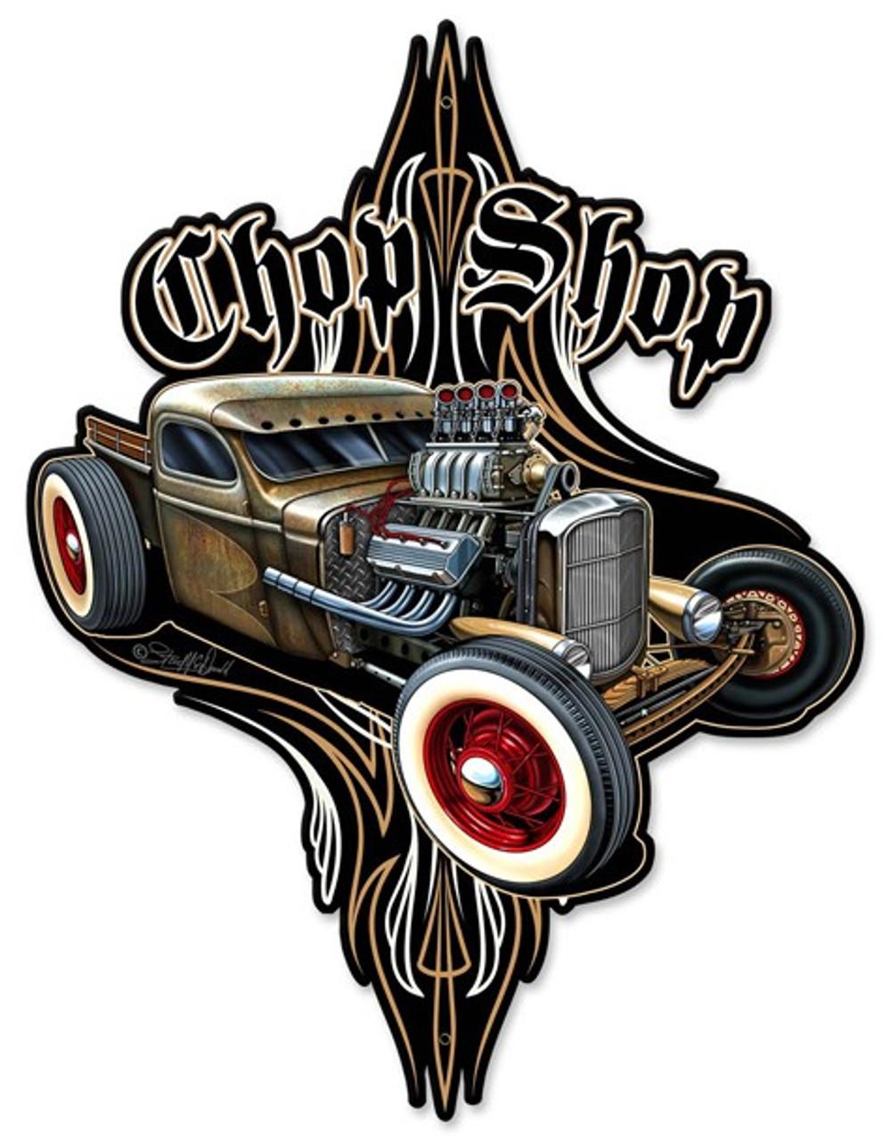 Rat Rod Chop Shop Metal Shape 14 x 18 Inches