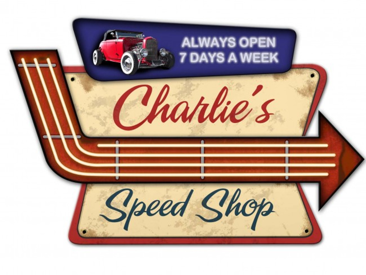 Speed Shop  3-D Metal Sign - Personalized 23 x 15 Inches