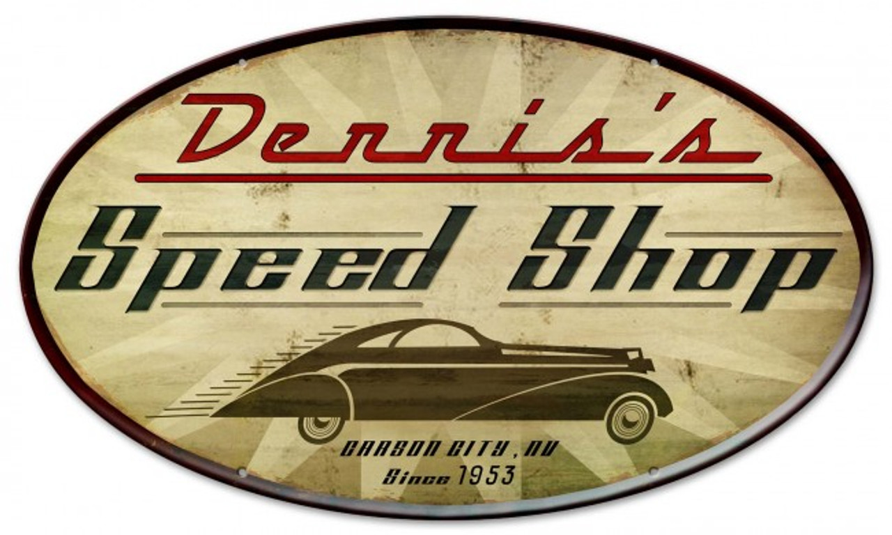 Speed Shop Metal Sign - Personalized 24 x 14 Inches