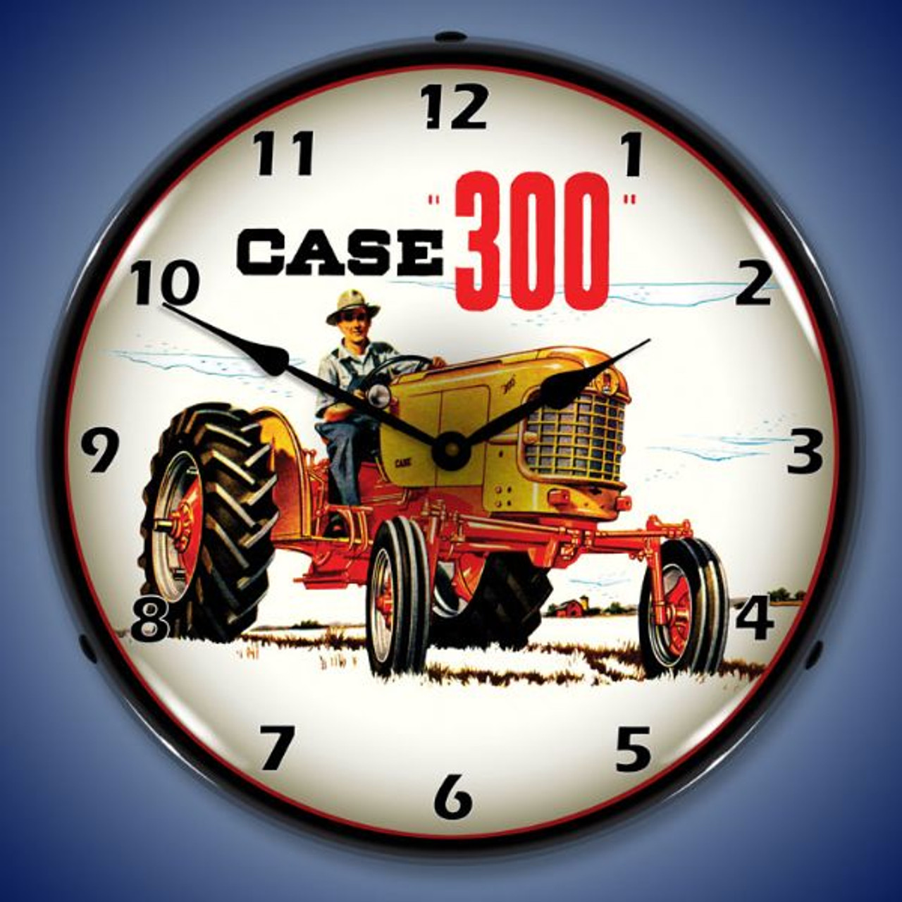 Case 300 Tractor Lighted Wall Clock 14 x 14 Inches