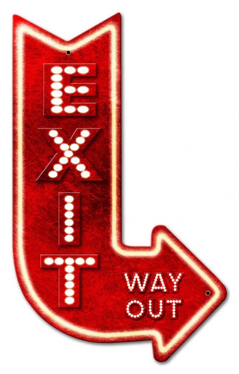 3-D Exit Arrow Right Metal Sign 15 x 24 Inches