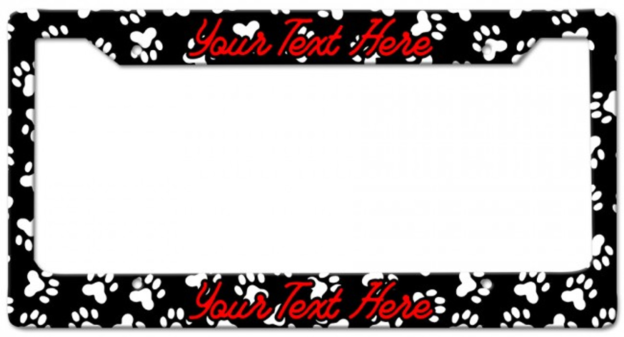 Paw print Personalized License Frame 12 x 6 Inches