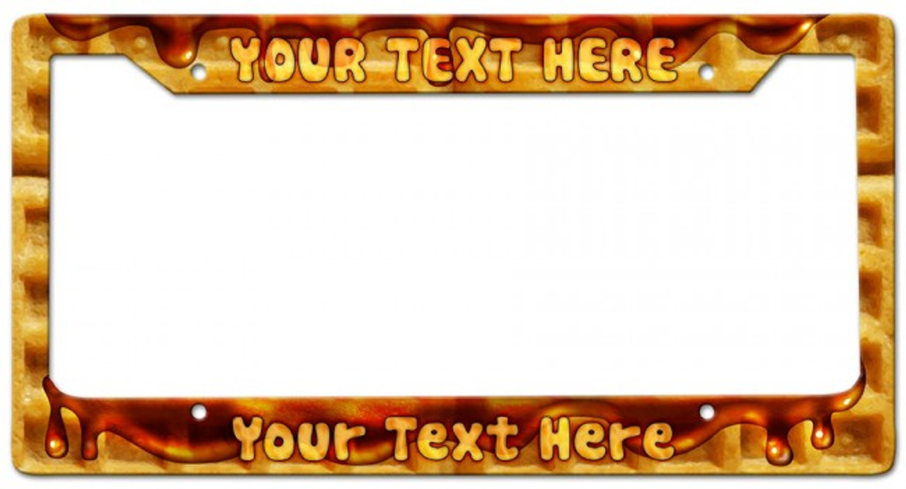 Waffle Personalized License Frame 12 x 6 Inches