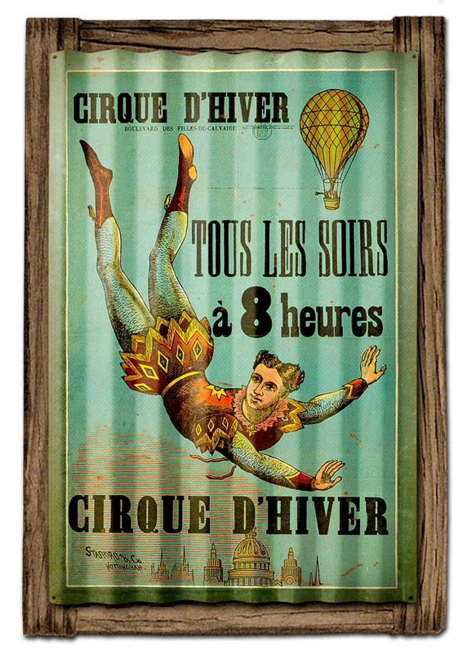 Cirque D'Hiver Corrugated Rustic Metal and  Barn Wood Sign 16 x 24 Inches