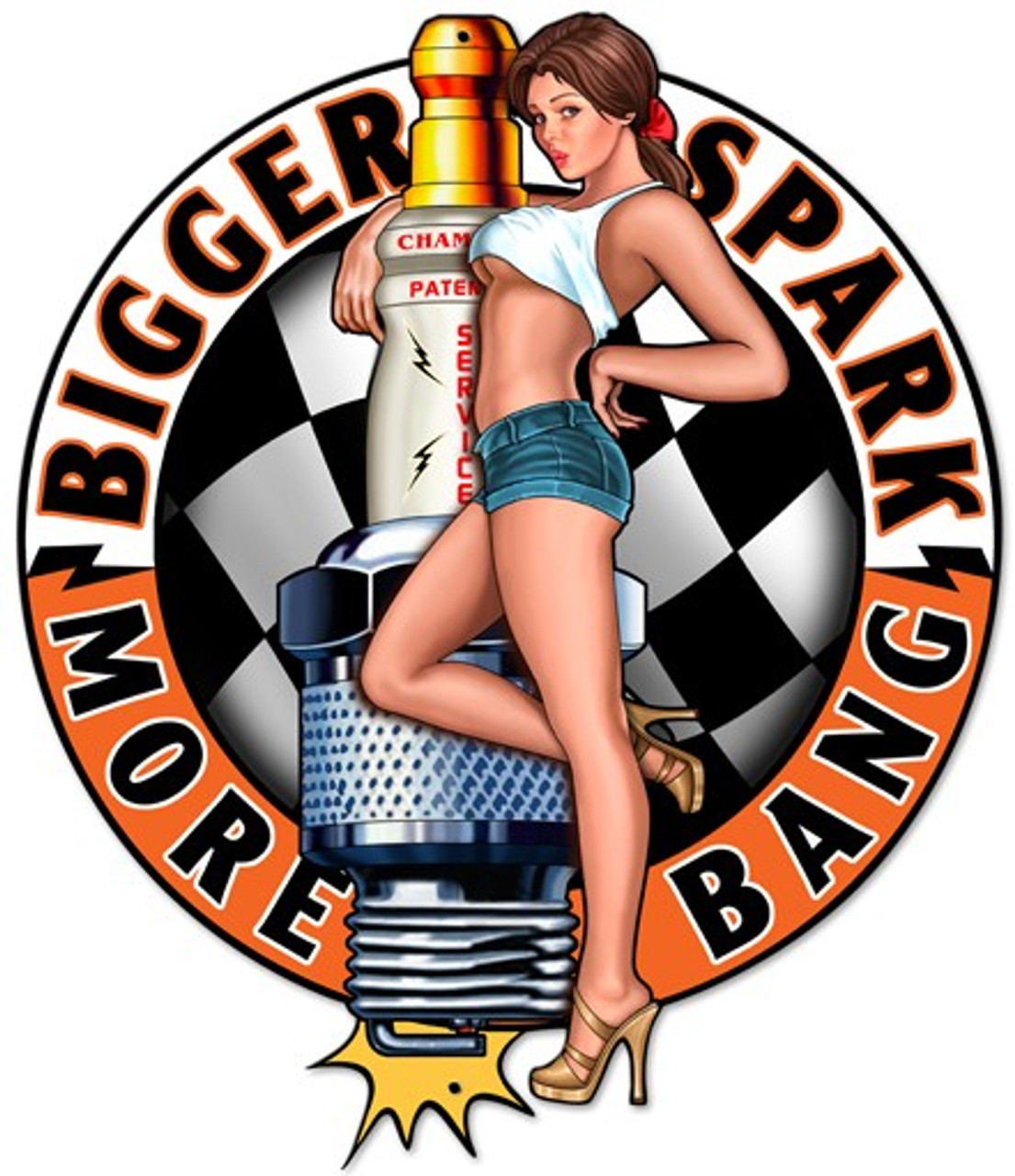 Bigger Sparks Pinup Metal Sign 14 x 16 Inches