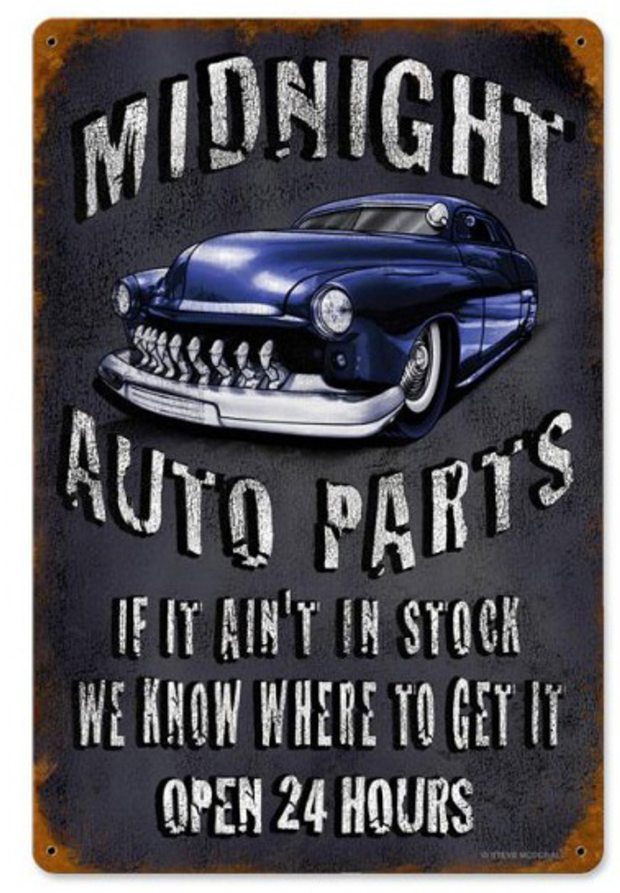 Midnight Auto Parts Metal Sign 12 x 18 Inches
