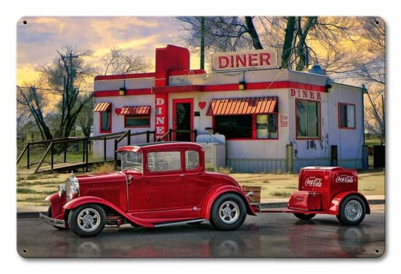 Diners and Dives Metal Sign 18 x 12 Inches