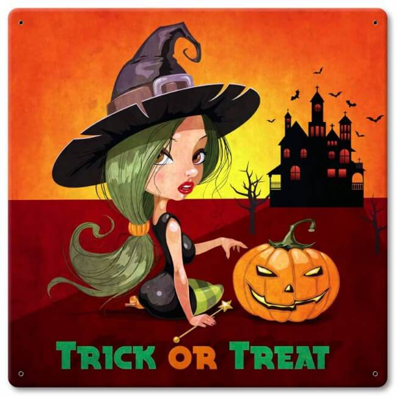 Trick Or Treat Witch Metal Sign 12 x 12 Inches