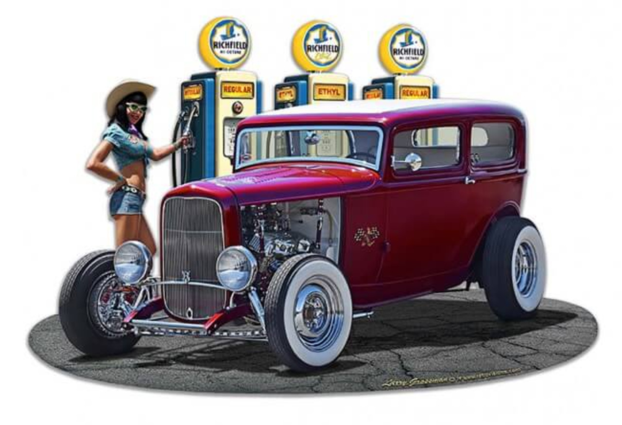 1932 Rod Sedan Fill-up WG Metal Sign 18 x 15 Inches
