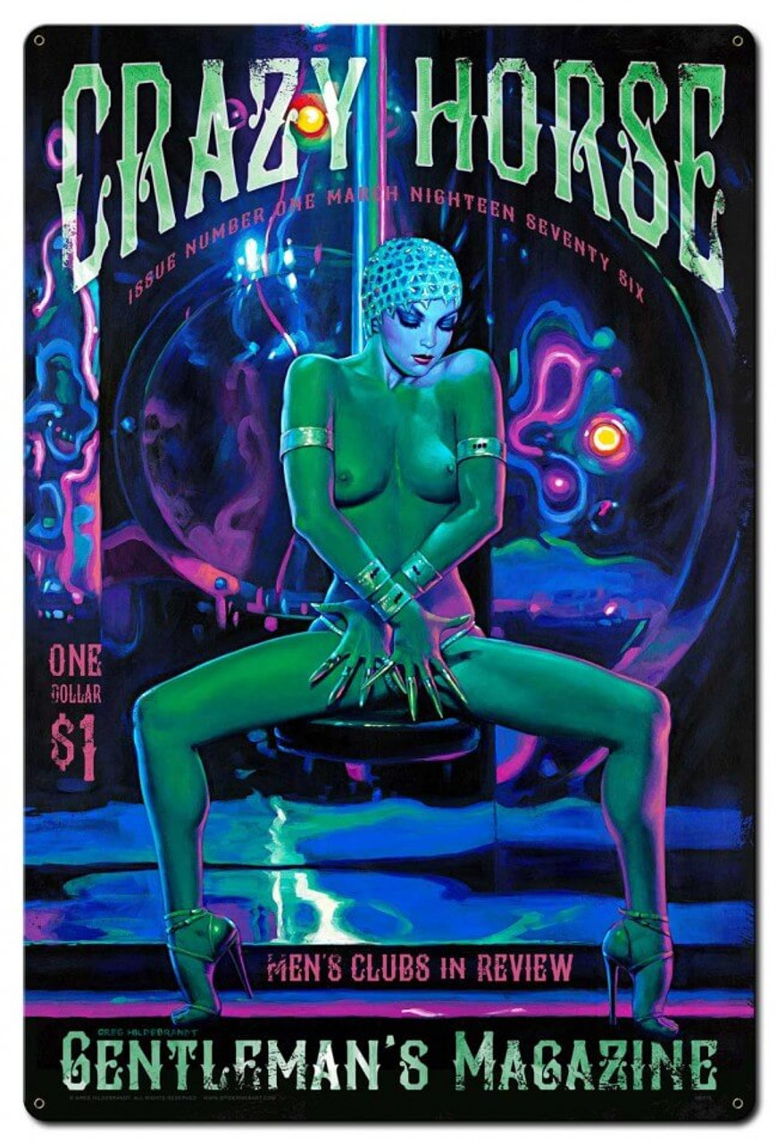 Crazy Horse Pinup Metal Sign 24 x 36 Inches