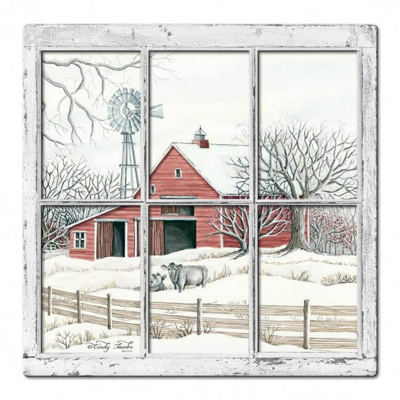 Winter Barn 3D Layered Metal Sign 17 x 17 Inches
