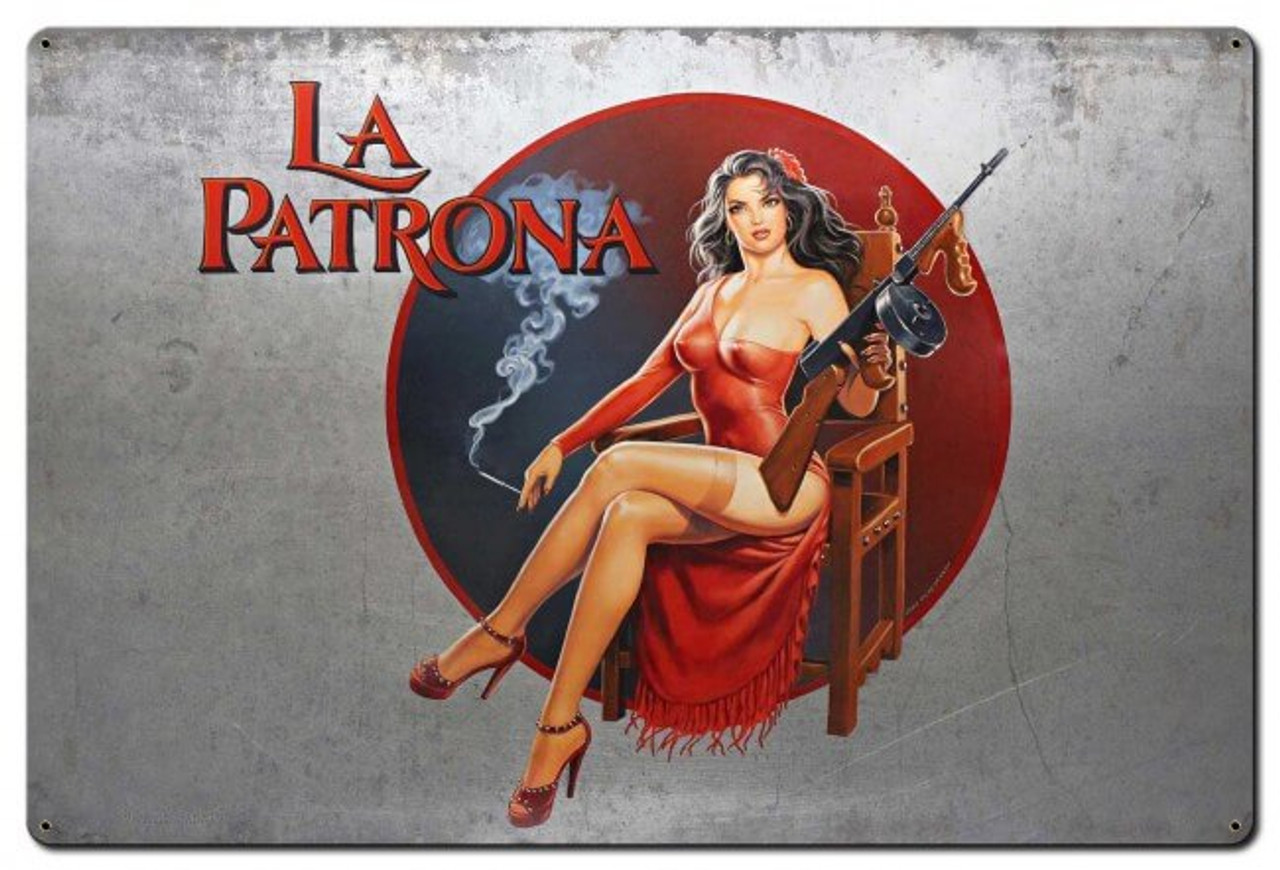 La Patrona Pinup Metal Sign 36 x 24 Inches