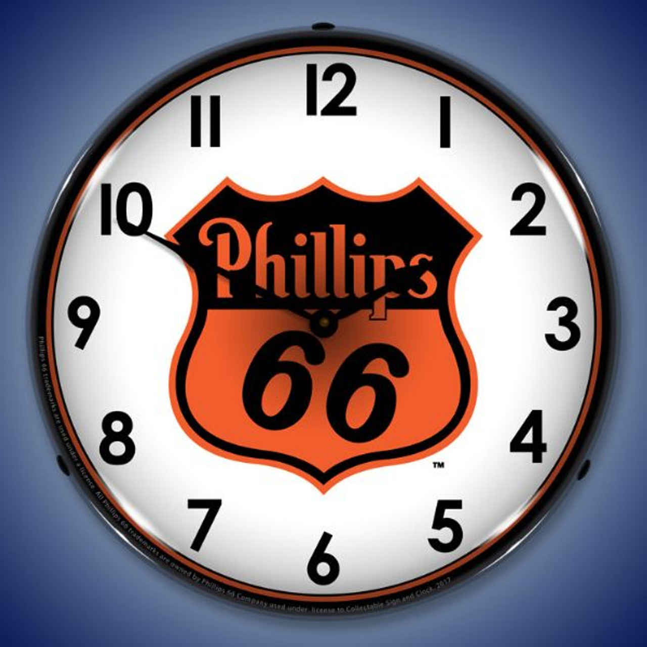 Phillips 66 Orange - LED Lighted Wall Clock 14 x 14 Inches