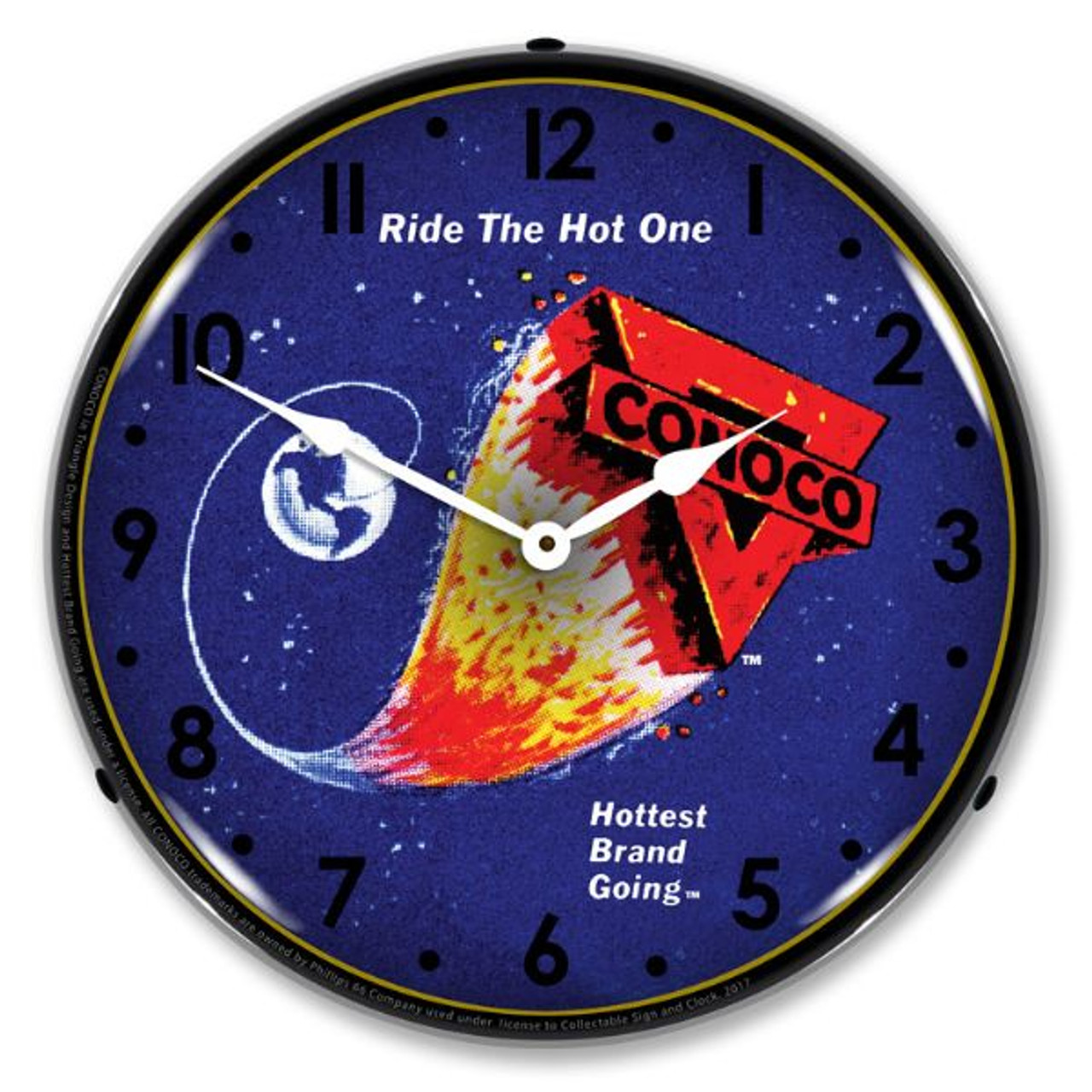 Conoco The Hottest Brand Going LED Lighted Wall Clock 14 x 14 Inches