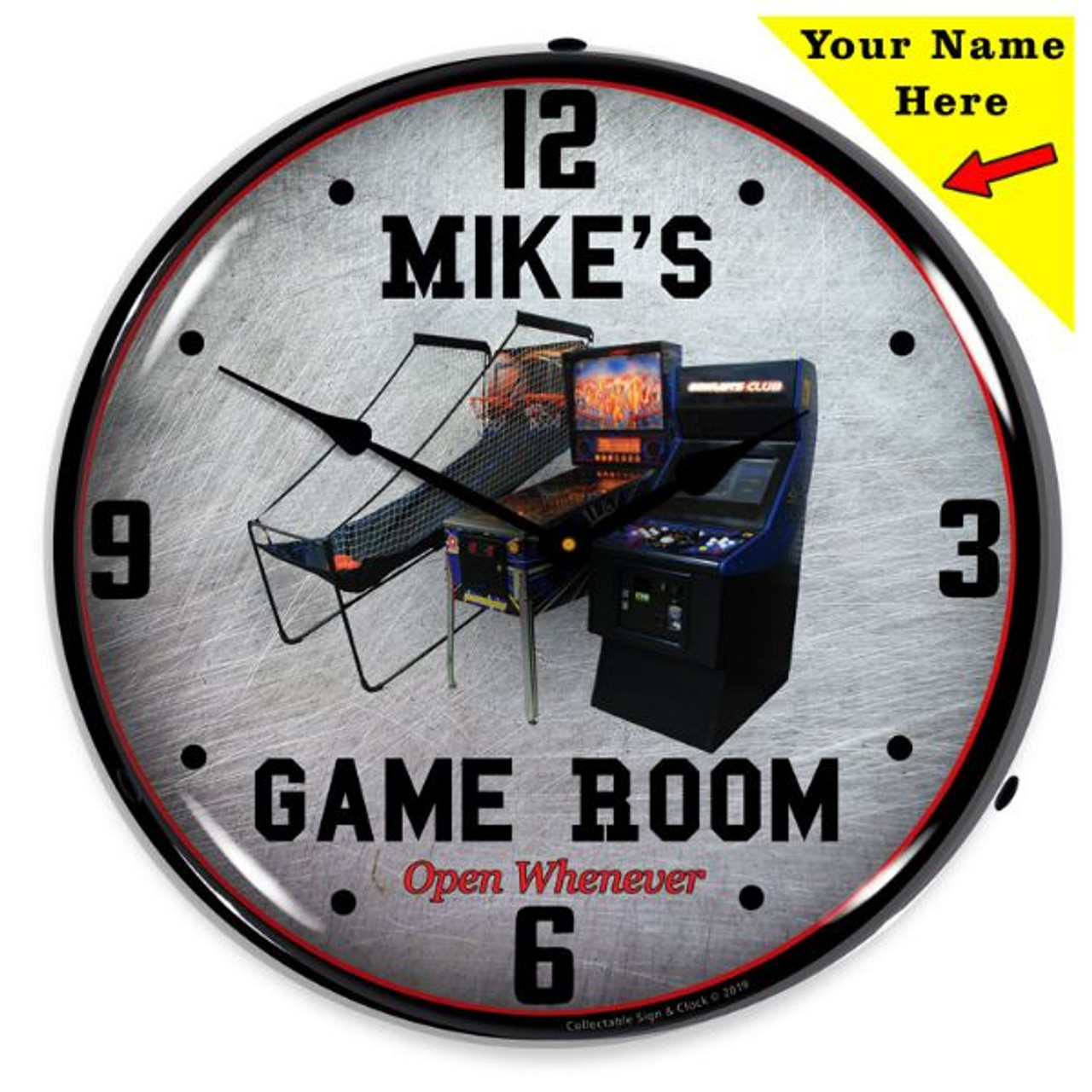 Personalized Game Room LED Lighted Wall Clock 14 x 14 Inches (Add Your Name)