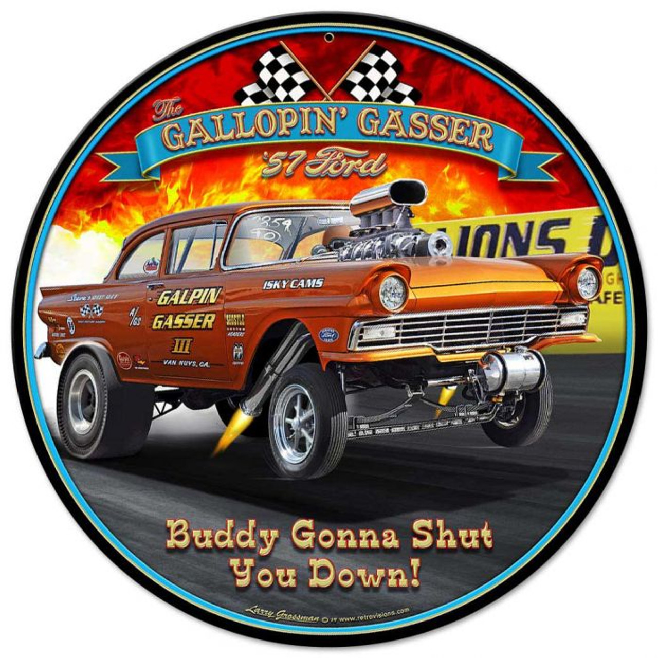 1957 Ford Gasser Metal Sign 14 x 14 inches