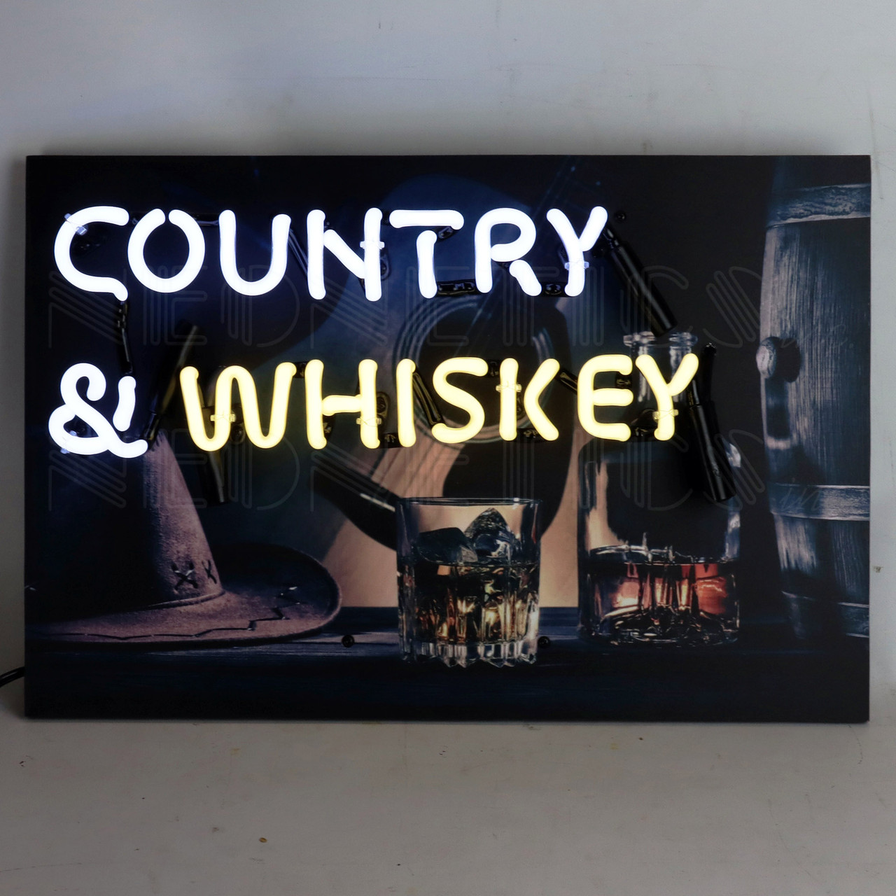 Country & Whiskey Neon Sign 18 x 12 x 4 Inches