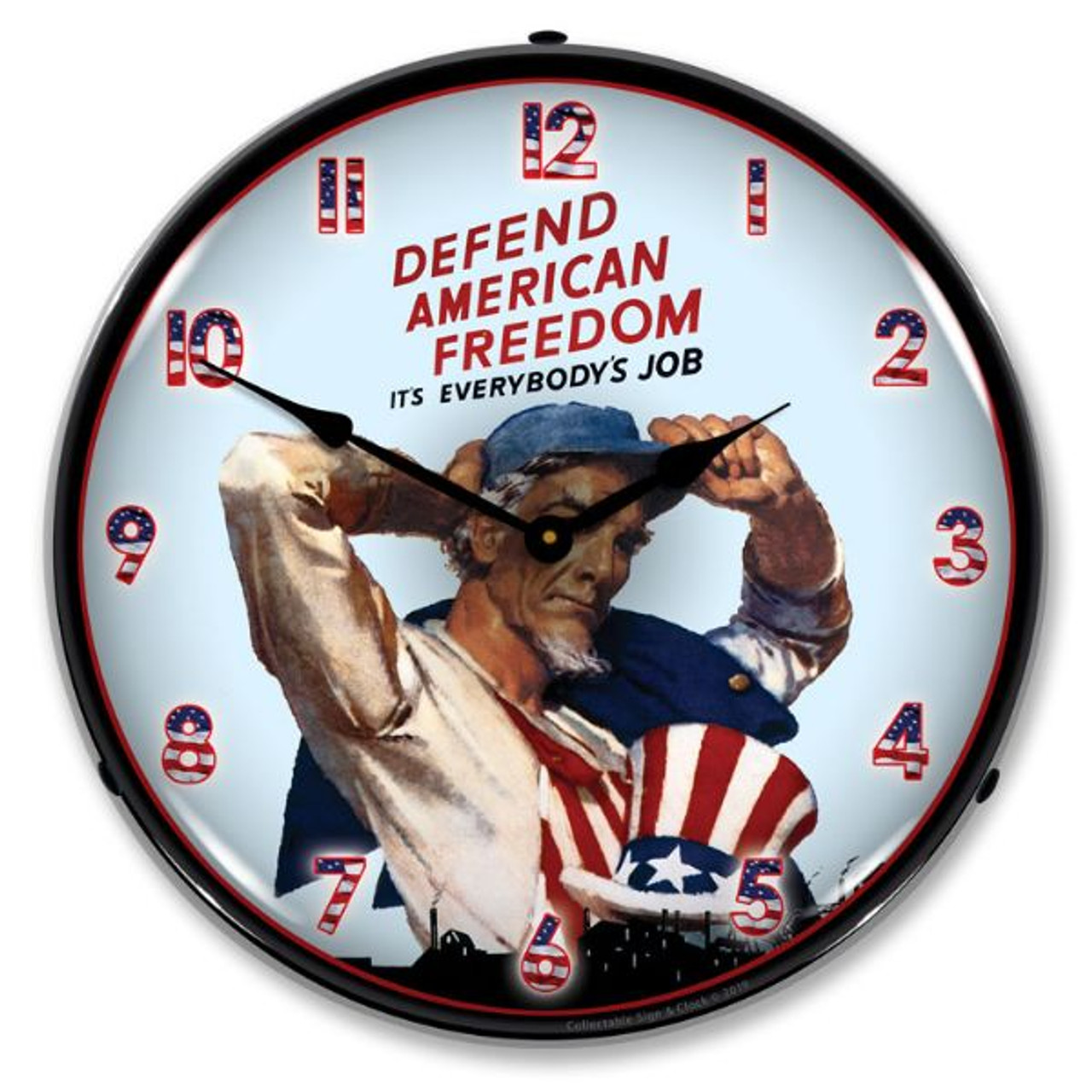 American Freedom LED Lighted Wall Clock 14 x 14 Inches