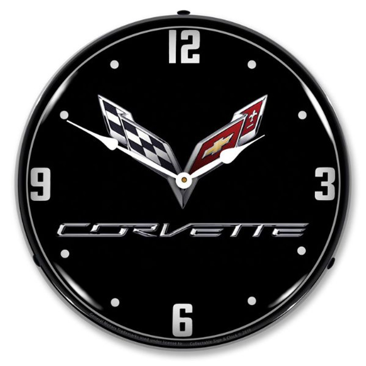 C7 Corvette Black Tie LED Lighted Wall Clock 14 x 14 Inches