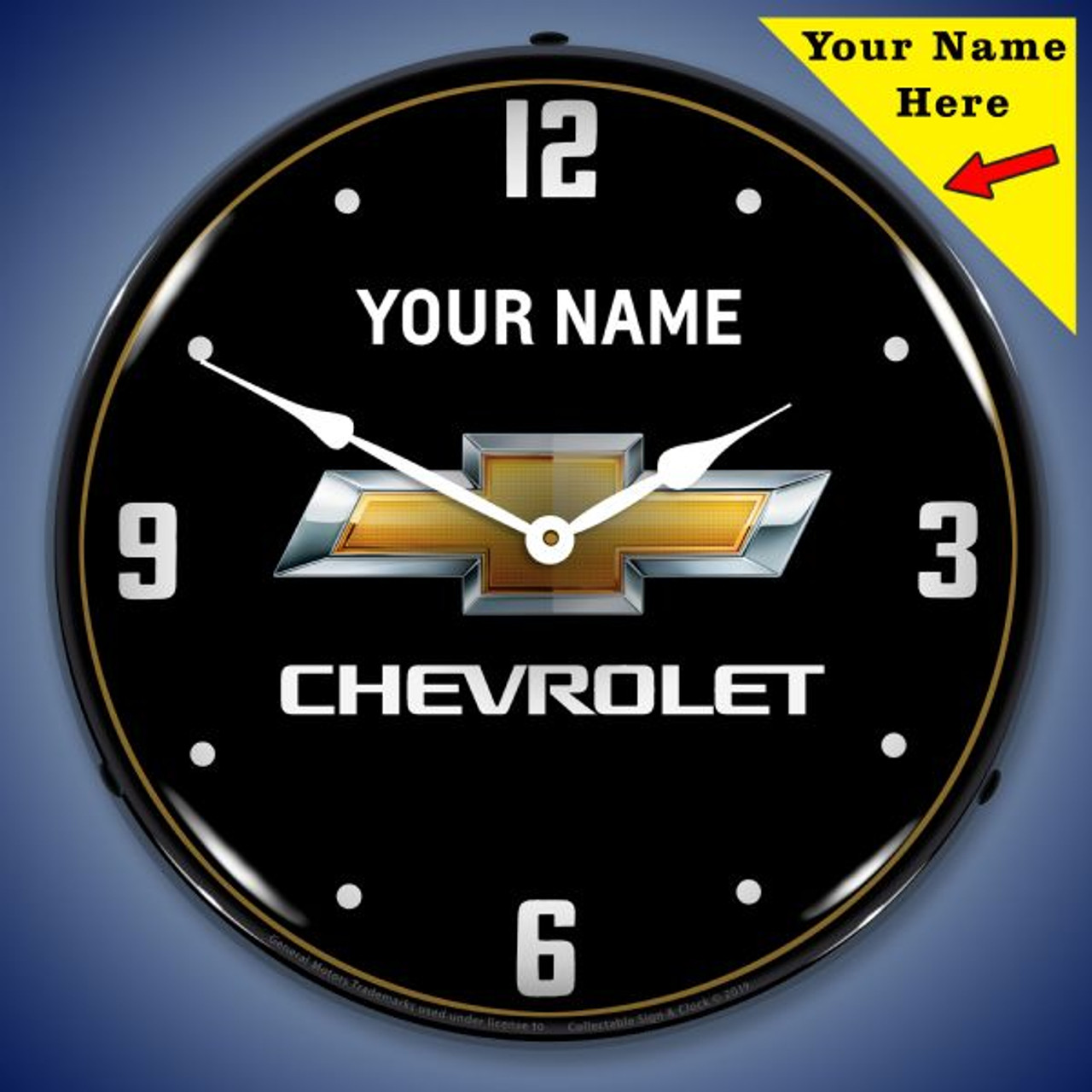 Personalized Chevrolet LED Lighted Wall Clock 14 x 14 Inches (Add Your Name)