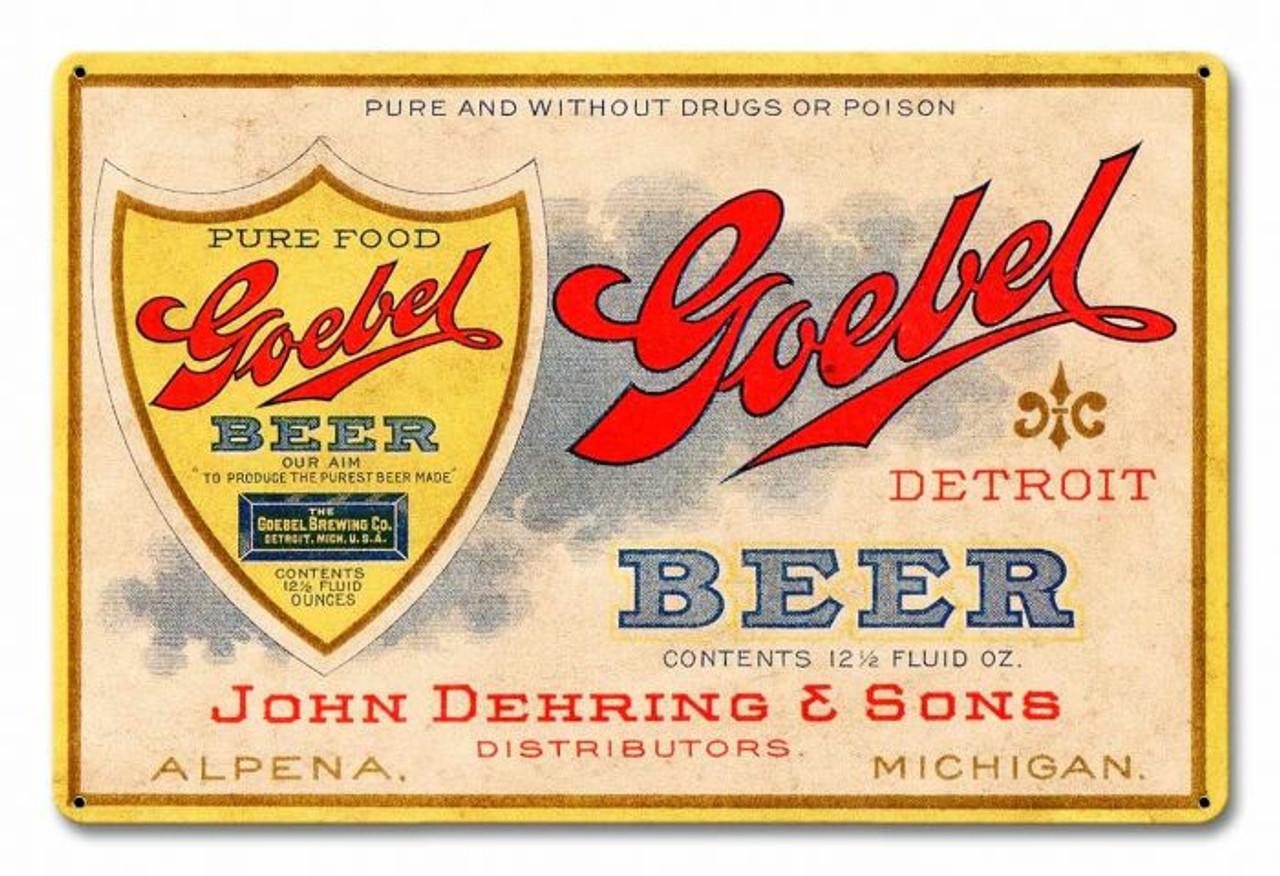 Goebel Beer Metal Sign 18 x 12 Inches