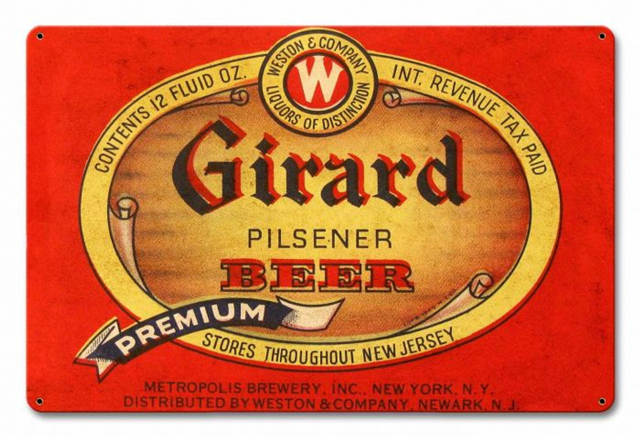 Girard Beer Metal Sign 18 x 12 Inches