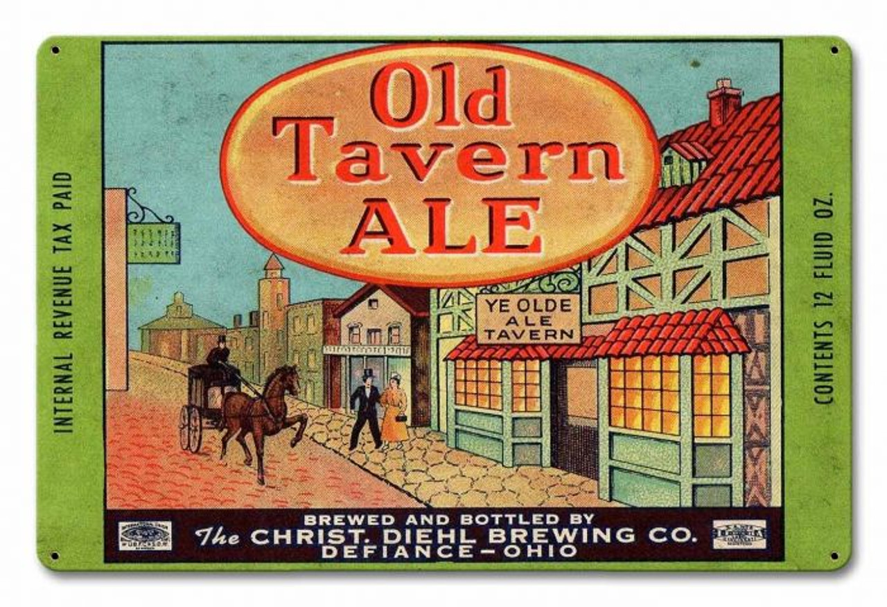 Old Tavern Ale Metal Sign 18 x 12 Inches