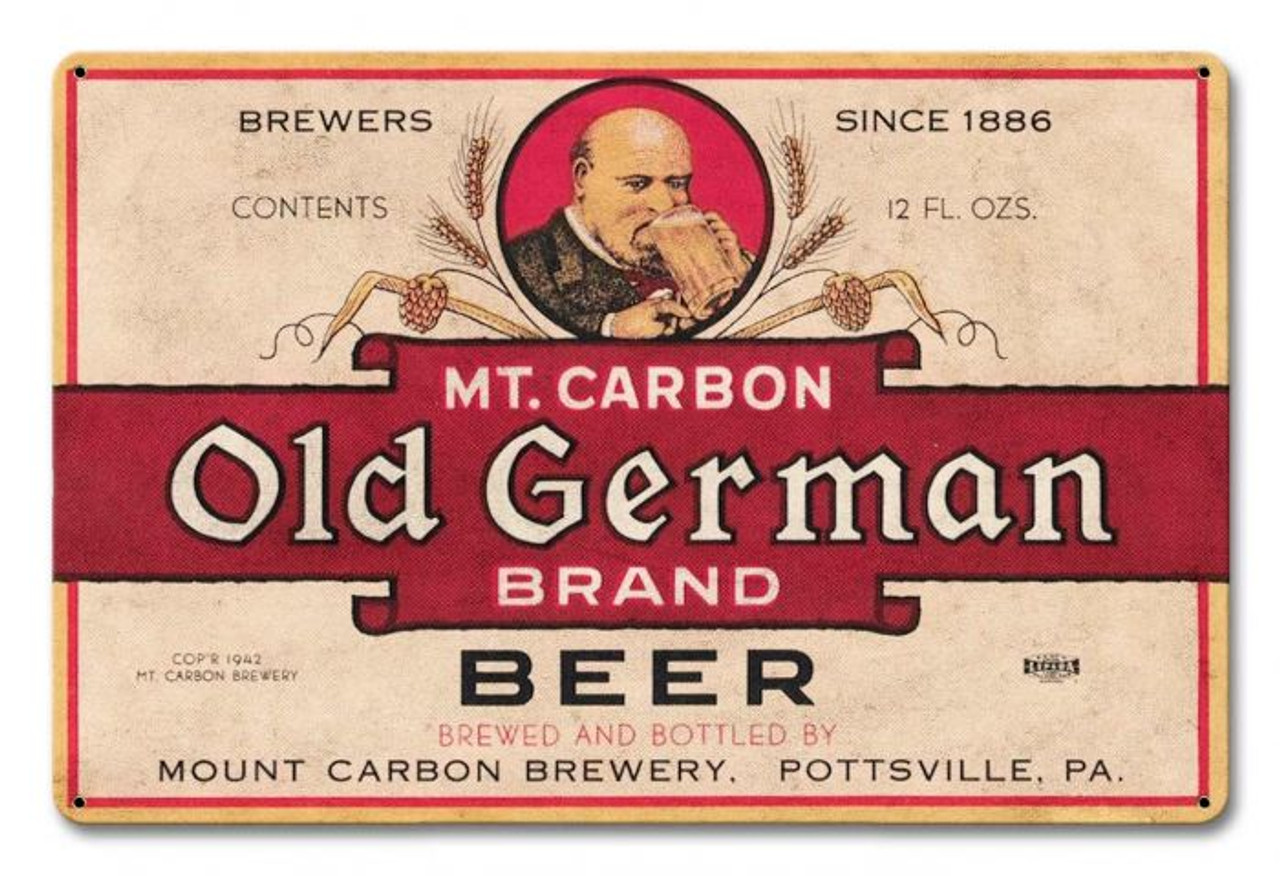 Mt. Carbon Old German Beer Metal Sign 18 x 12 Inches