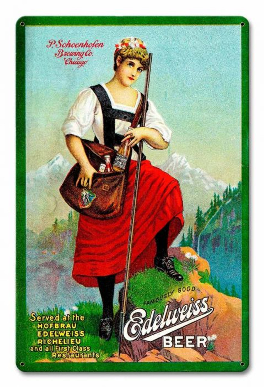 Edelweiss Beer Metal Sign 12 x 18 Inches
