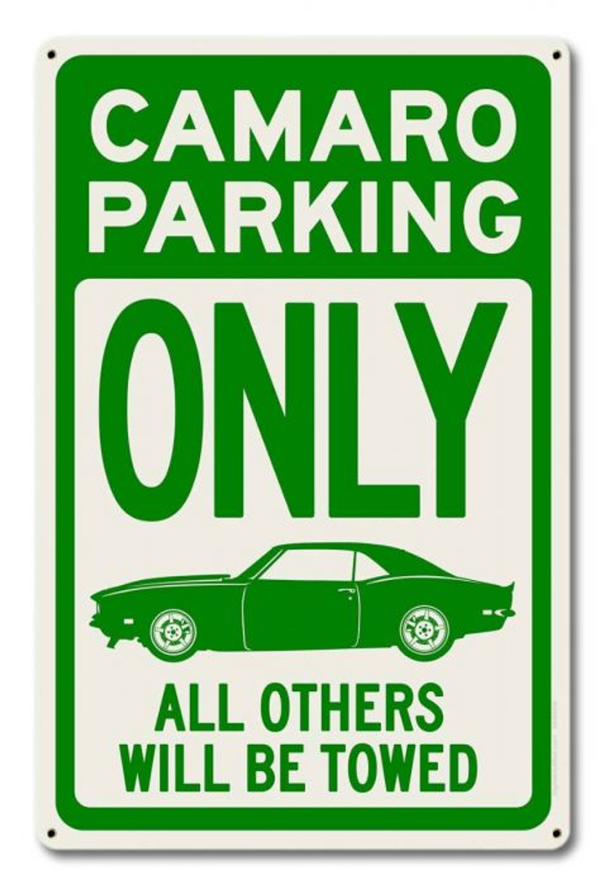 Camaro Parking Green Metal Sign 12 x 18 Inches