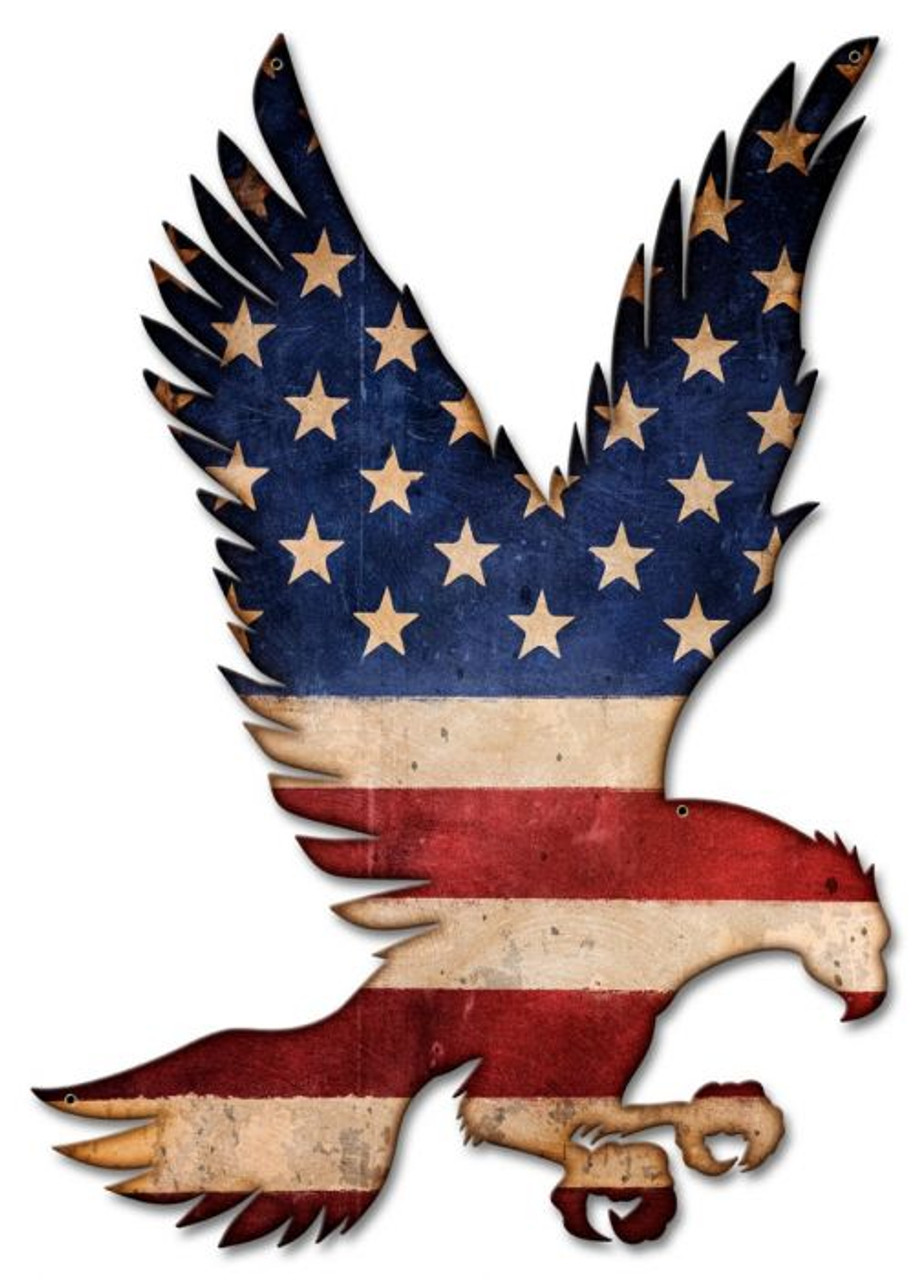 American Flag Flying Eagle Metal Sign 16 x 23 Inches