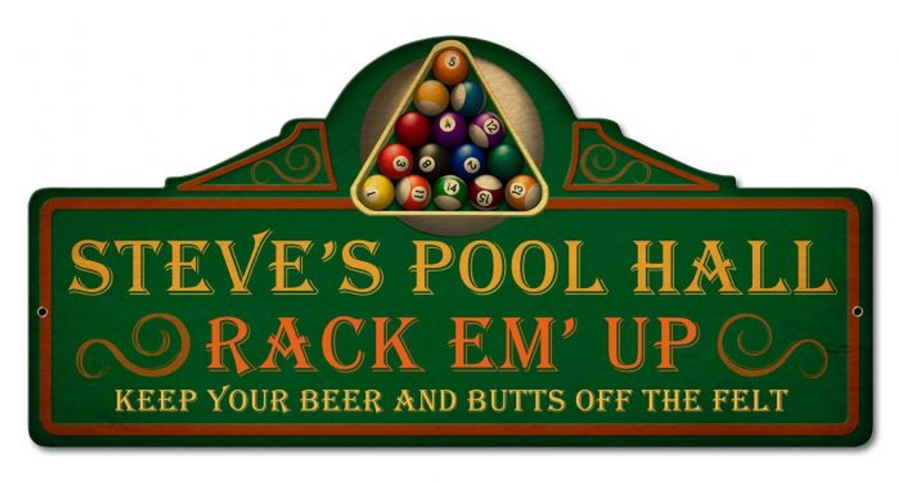 Personalized Pool Hall Metal Sign - Personalized 26 x 13 Inches