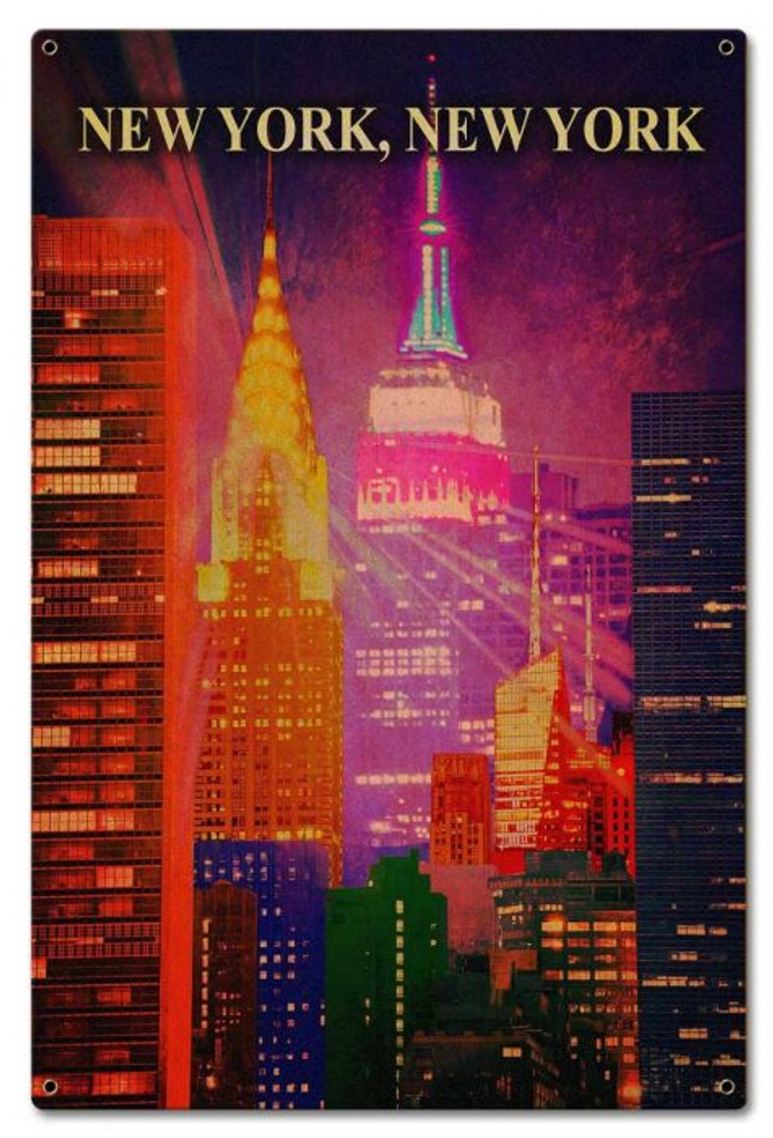 New York New York Metal Sign 16 x 24 Inches
