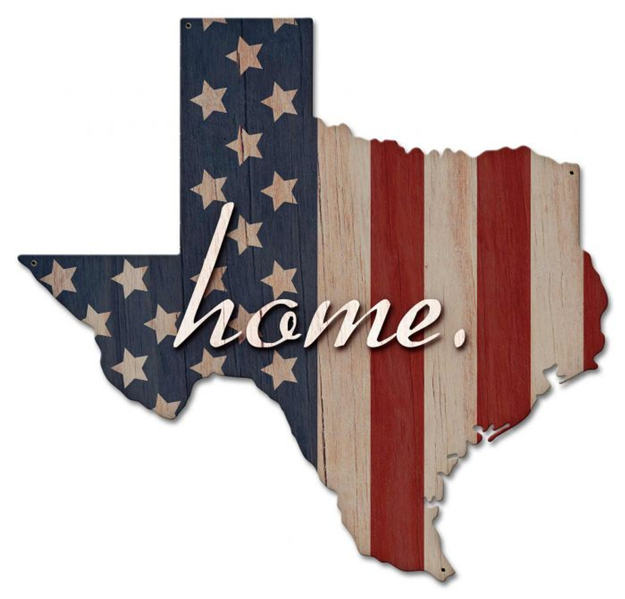 American Flag Home Texas Metal Sign 24 x 23 Inches