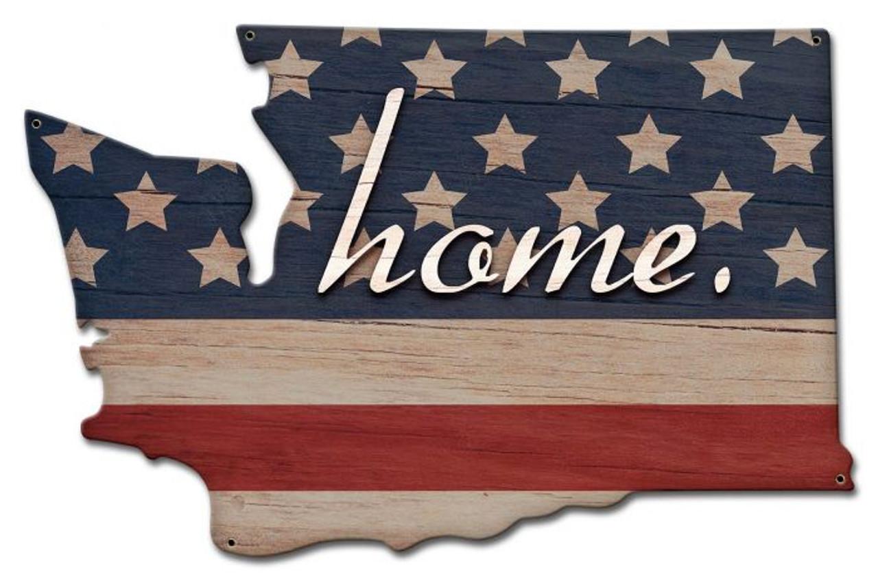 American Flag Home Washington Metal Sign 20 x 13 Inches