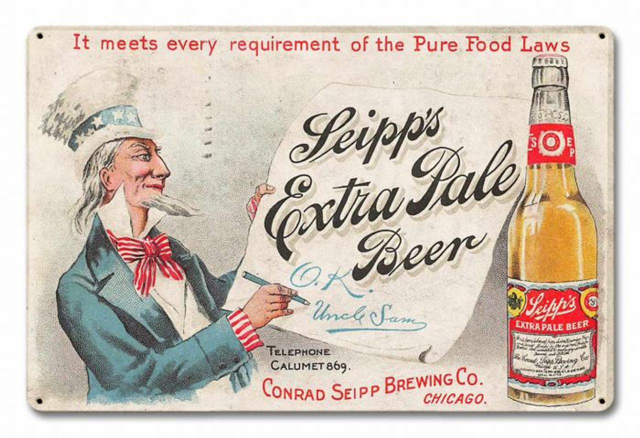 Seipps Extra Pale Beer Metal Sign 18 x 12 Inches