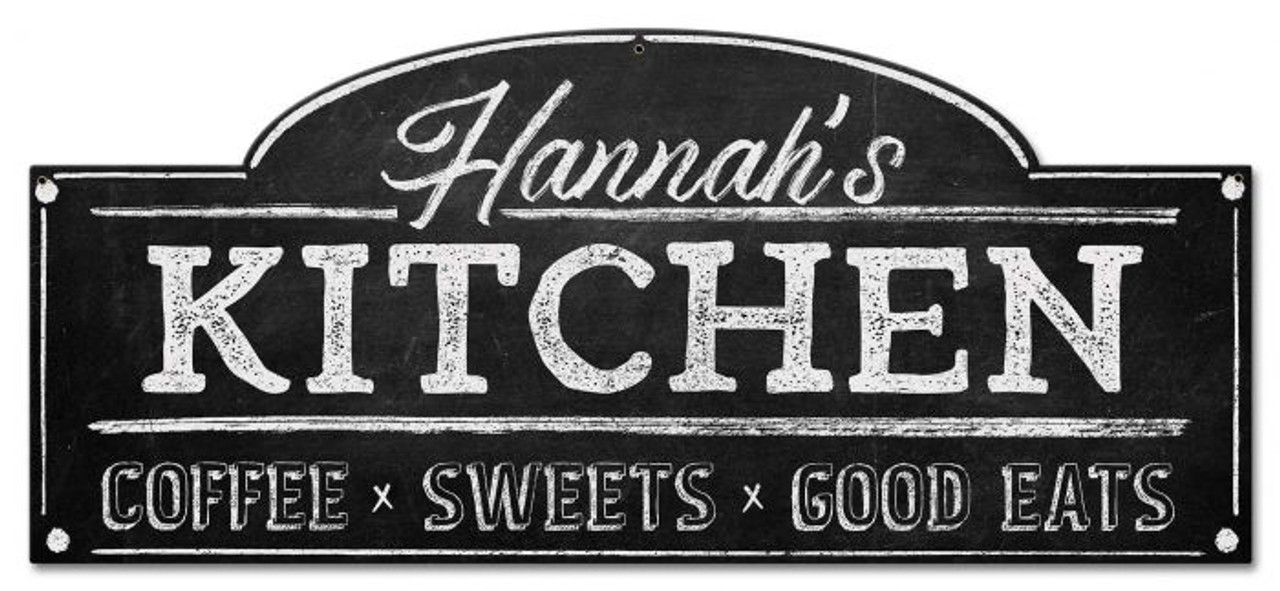 Kitchen Personalized Metal Sign 28 x 12 Inches