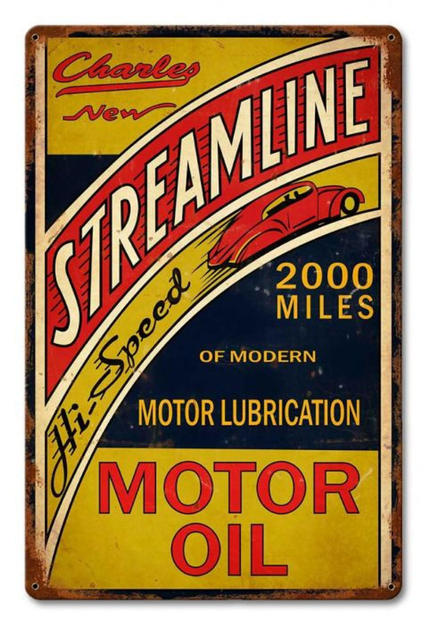 Streamline Motor Oil Metal Sign 12 x 18 Inches