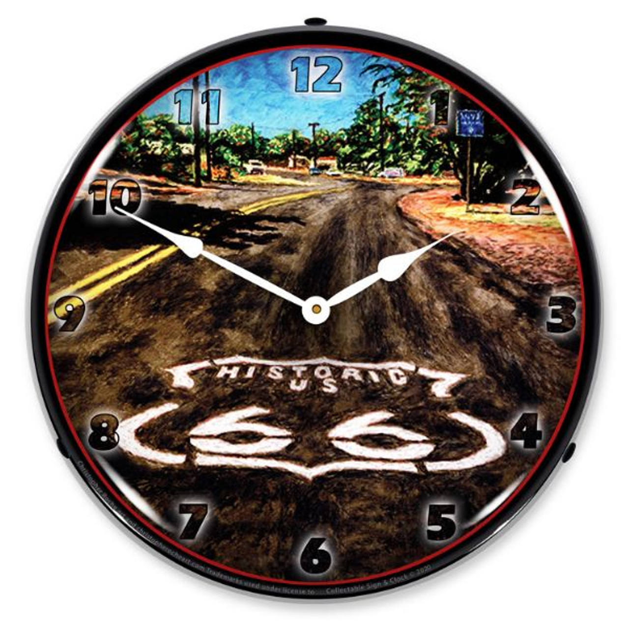 The Mother Road LED Lighted Wall Clock 14 x 14 Inches