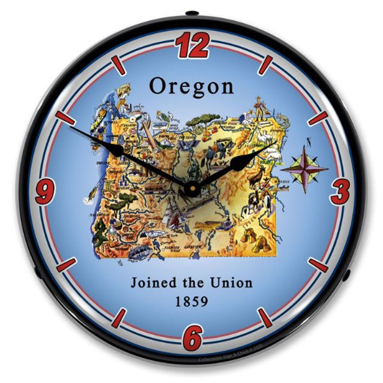 State of Oregon LED Lighted Wall Clock 14 x 14 Inches