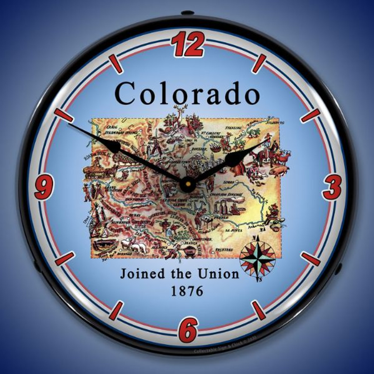State of Colorado LED Lighted Wall Clock 14 x 14 Inches