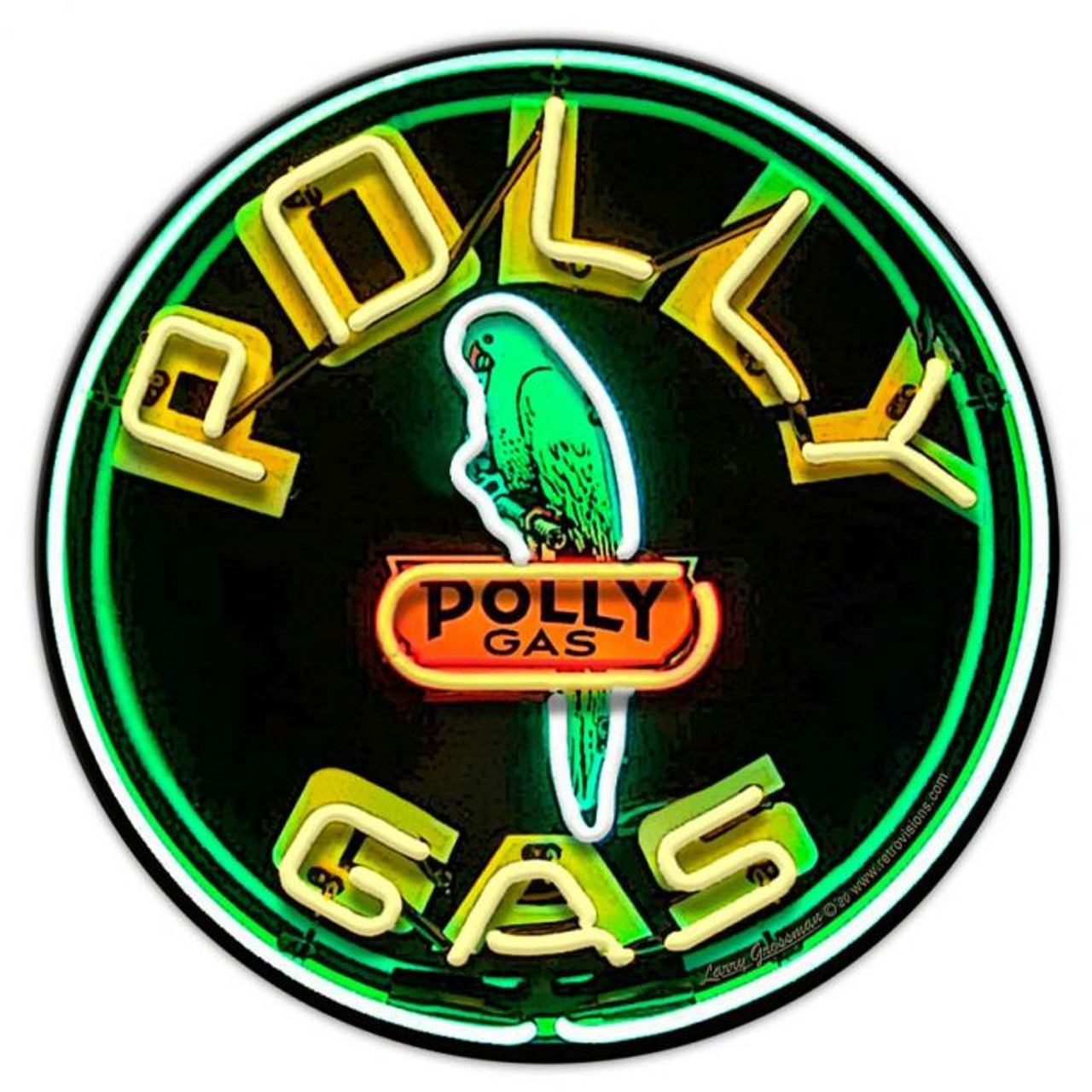 Polly Gas Neon Style Metal Sign  16 x 16 Inches