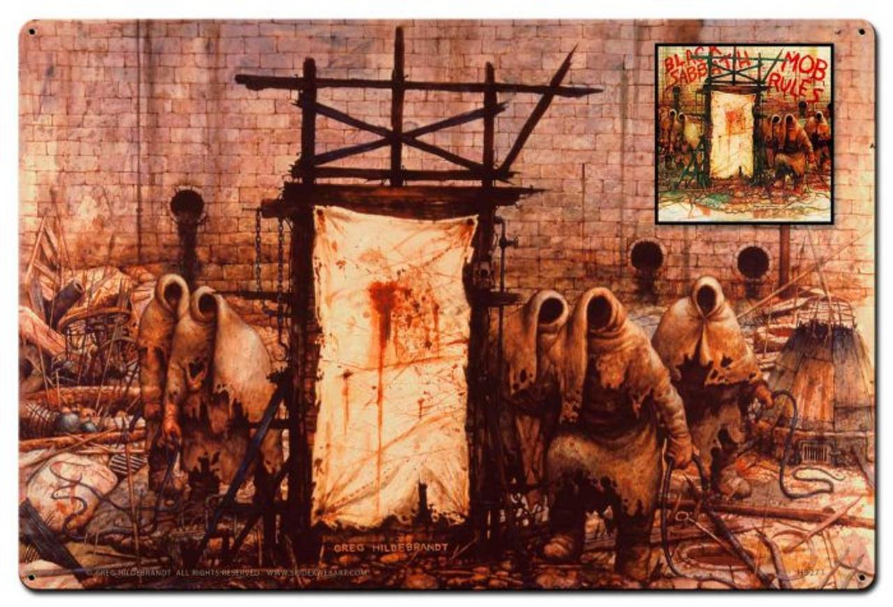 Greg Hildebrandt Mob Rules Metal Sign 36 x 24 Inches