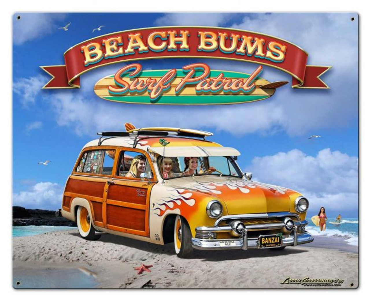 1951 Surf Woody Metal Sign 30 x 24 Inches