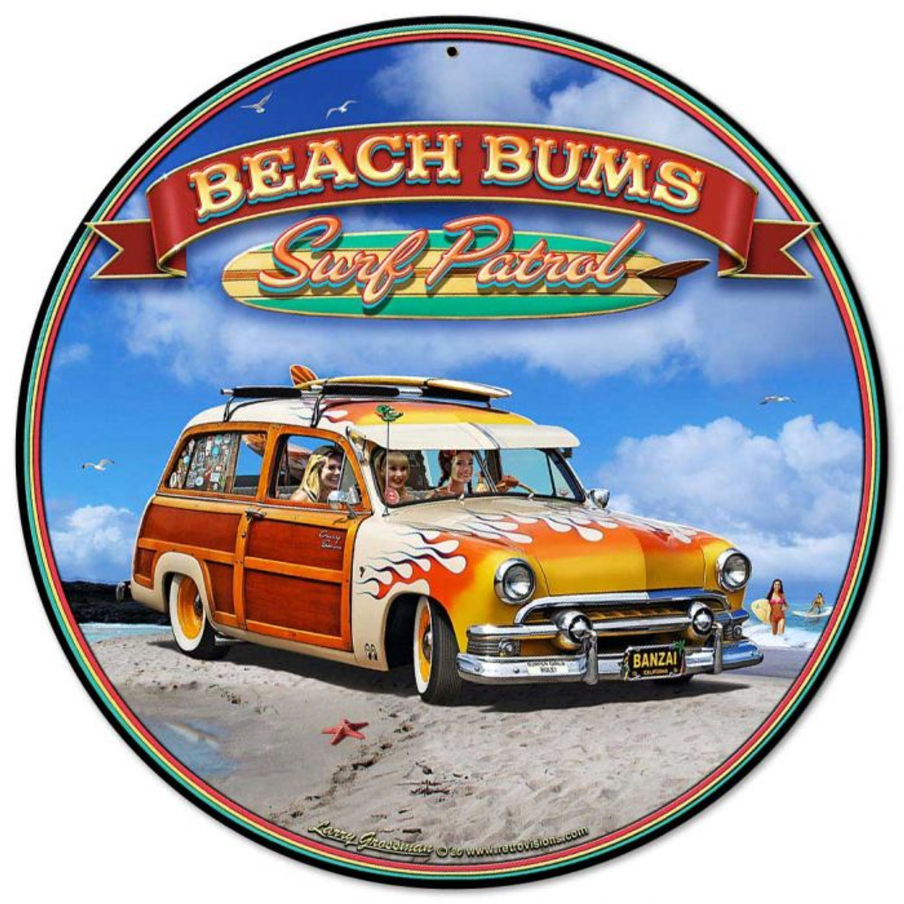 1951 Surf Woody Metal Sign 14 x 14 inches