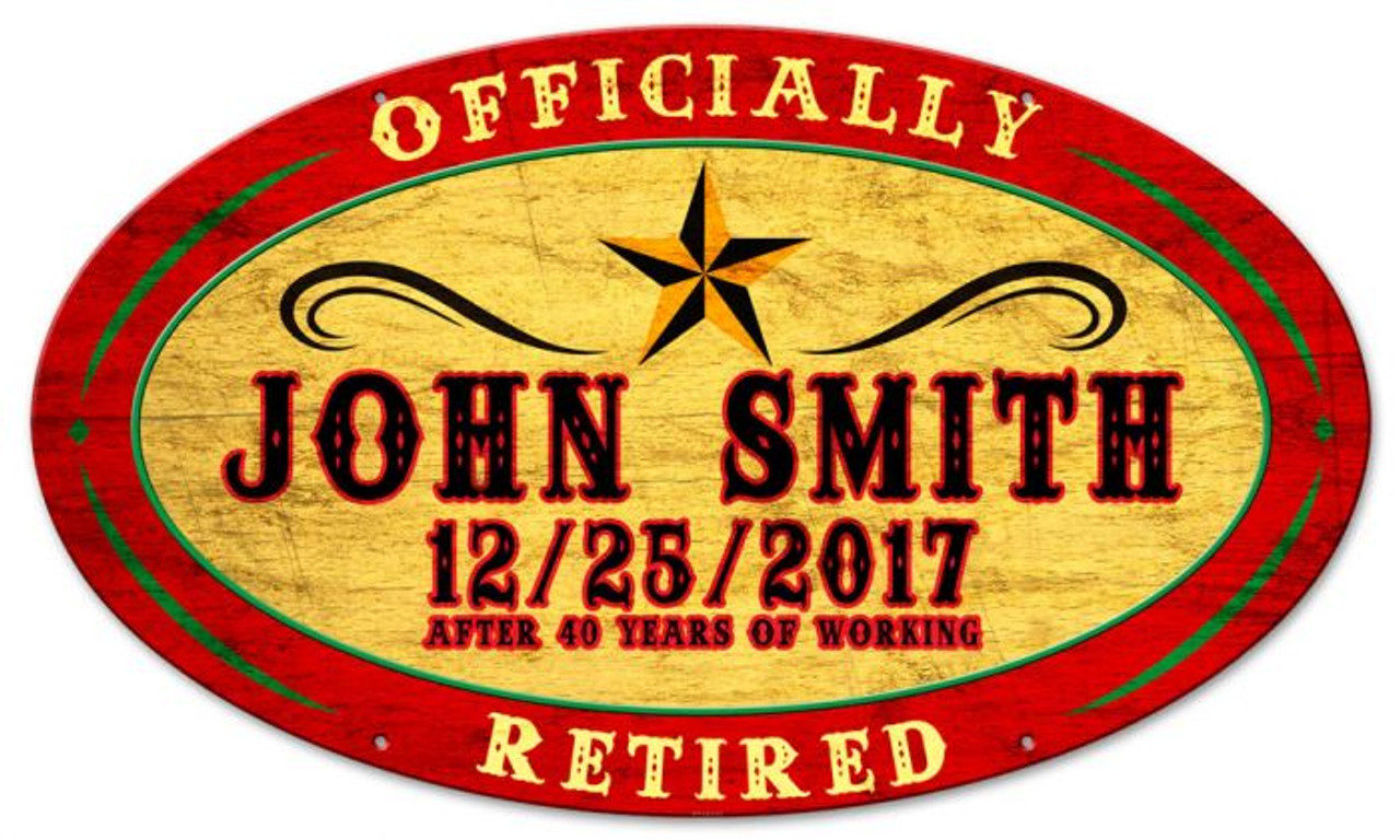 Retired Circus Style Oval Metal Sign - Personalized 24 x 14 Inches