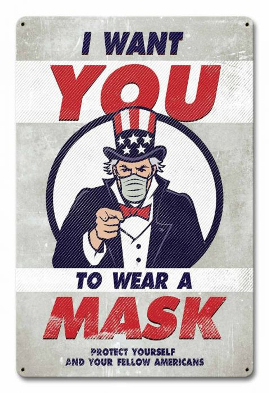 Uncle Sam Wear Mask Metal Sign 12 x 18 Inches